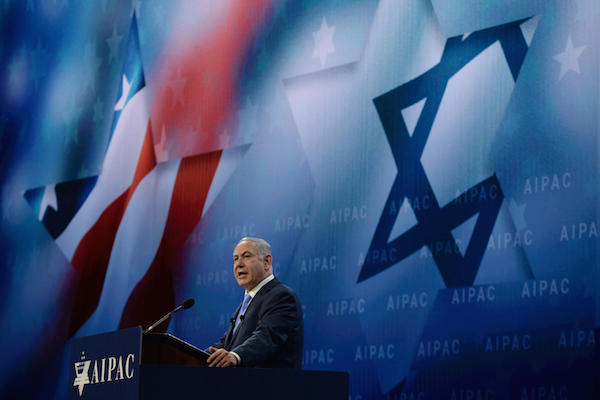 Prime Minister Benjamin Netanyahu speaks at the AIPAC Conference in Washington D.C. on March 6, 2018. (Haim Zach/GPO)