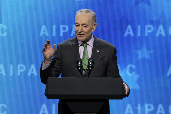 Senator Chuck Schumer speaks to the 2018 AIPAC Policy Conference in Washington DC, March 5, 2018. (Courtesy of AIPAC)