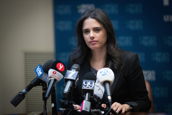 Justice minister Ayelet Shaked Gives a statement to the media  Justice minister Ayelet Shaked gives a statement to the media at the Knesset on February 26, 2018. (Yonatan Sindel/Flash90)