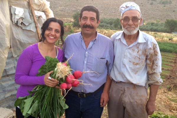 Vivien Sansour with Khader and Abu Diaa, participating farmers in the efforts of the Palestine Heirloom Seed Library. (Courtesy of Vivien Sansour)