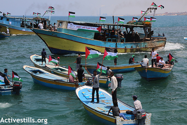 "The Gaza ""Freedom Boat"" in port in Gaza, before attempting to break Israel's naval blockade. (Mohammed Zaanoun/Activestills.org)"