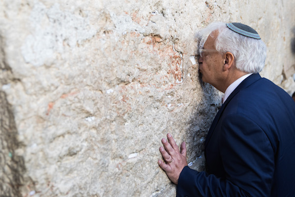 American ambassador to Israel, David M. Friedman, visits the Western Wall in Jerusalem's Old City. May 15, 2017. (Rob Ghost/Flash90)