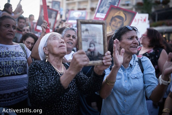 Protesters demand recognition and reparations for the state's abduction of Yemenite, Mizrahi, and Balkan children between the late 1940s and the 1960s. June 21, 2018. (Shiraz Grinbaum/Activestills.org)