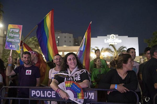 Over 150 Jews and Arabs attend the first-ever pride event in the mixed city of Lod, central Israel, July 26, 2018. (Oren Ziv/Activestills.org)