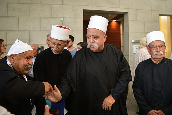 Shaykh Muwaffak Tarif, spiritual leader of the Israeli Druze community, attends a conference of the Zionist Druze Movement in Herzliya, July 16, 2018. (Flash90)