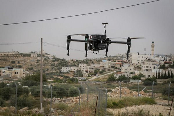 A new security drone seen flying near a Palestinian village, May 6, 2018. (Gershon Elinson/Flash90)