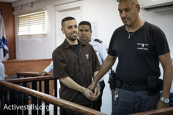 Palestinian journalist Ali Dar Ali seen in Ofer Military Court on August 20, 2018. (Oren Ziv)