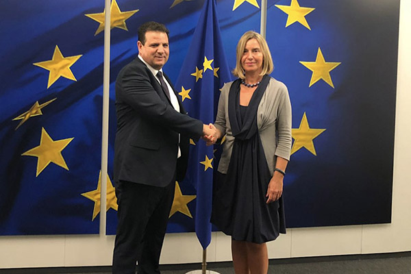 Joint List Chairman Ayman Odeh meets with EU Foreign Policy Chief Frederica Mogherini in Brussels earlier in September (Joint List Spokesperson)
