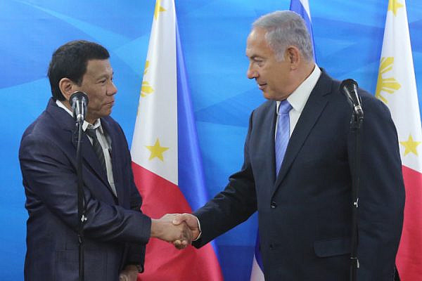 President of the Philippines Rodrigo Duterte meets with Israeli Prime Minister Benjamin Netanyahu in Jerusalem during Duterte's official visit to Israel, on September 3, 2018. (Marc Israel Sellem/POOL)