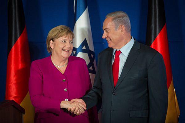 Israeli Prime Minister Benjamin Netanyahu and German Chancellor Angela Merkel during a joint press conference at the King David Hotel, Jerusalem, October 4, 2018. (Hadas Parush/Flash90)