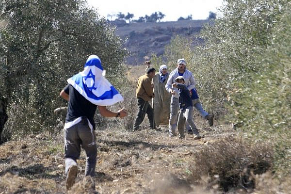 Illustrative photo of an Israeli settler attacking a group of Palestinian olive harvesters. (Olivier Fitoussi/Flash90)