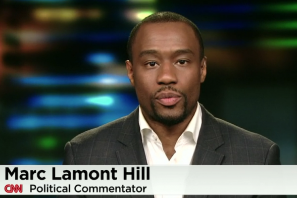 Marc Lamont Hill participates in a CNN panel, August 29, 2014. (Screenshot/CNN)