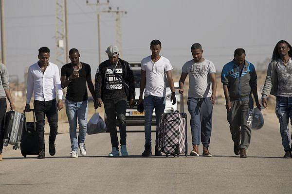 African asylum seekers are seen upon release from 'Saharonim' prison in the Negev desert, Southern Israel, April 15, 2018. (Oren Ziv/Activestills.org)