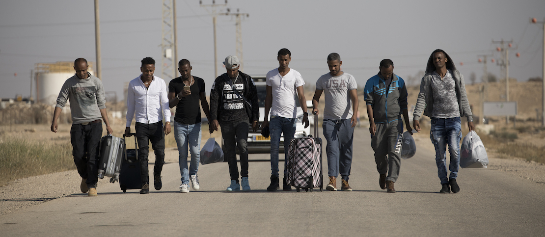 African asylum seekers are seen upon release from 'Saharonim' prison in the Negev desert, Southern Israel, April 15, 2018. (Oren Ziv/Activestills.org)