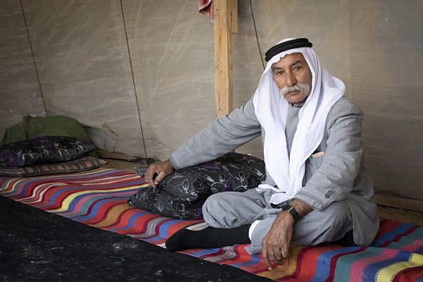 Sheikh Sayeh Abu Madi'am in the unrecognized Bedouin village of Al-Araqib in al-Naqab, which Israeli authorities have demolished 173 times. (Oren Ziv/Activestills.org)