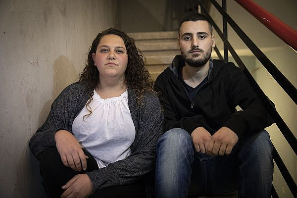Conscientious objectors Yasmin Vered-Levy (left) and Adam Rafaelov. (Oren Ziv)
