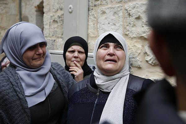 Members of the Abu Saab family seen after being evicted from their home by Israeli police in Jerusalem's Old City, February 17, 2019. (Activestills.org)