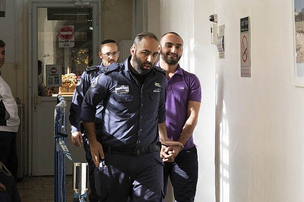 Palestinian journalist Mustafa al-Haruf seen at a Jerusalem Court following his arrest for supposed incitement on Facebook. He was released the following day and the case was closed, December 2017.