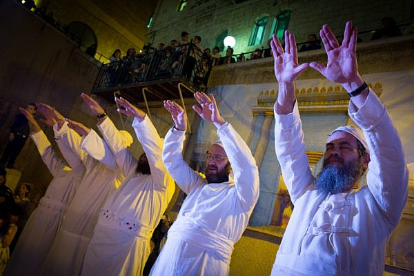 Temple Mount activists take part at a Sacrifice procession at the Cardo in the Old City of Jerusalem, Israel. (Nati Shohat/Flash90)