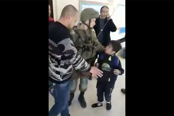 Screenshot from video showing arrest of 10-year-old Palestinian boy in a school in Hebron, March 21, 2019.