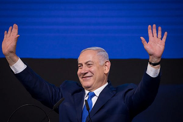 Prime Minister Benjamin Netanyahu celebrates his election victory, April 9, 2019. (Yonatan Sindel/Flash90)