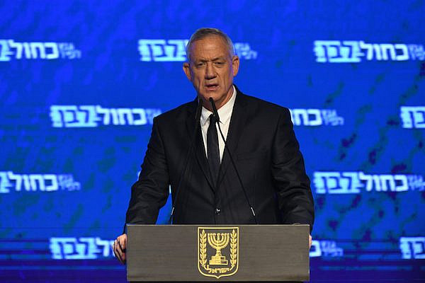 Benny Gantz, head of Blue and White Party, gives a speech after initial voting results in Israel's general elections are released, at the party headquarters in Tel Aviv, on April 09, 2019. (Gili Yaari/Flash90)