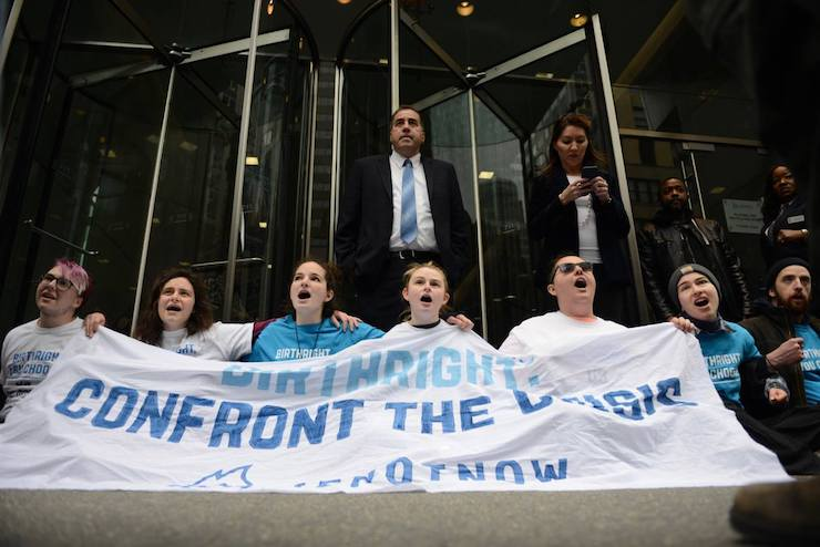 American Jewish activists protest outside the Birthright offices in New York, April 5, 2019. (GIli Getz)
