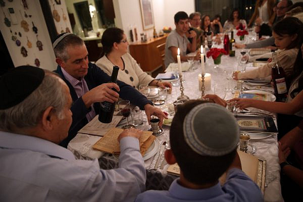 An illustrative photo of a Passover seder. (Flash90)