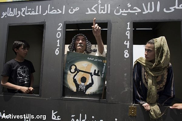 Palestinians stand inside a makeshift train, symbolically heading to the homes and lands they left in 1948, as they commemorate the Nakba day in the West Bank town of Bethlehem, on May 15, 2016. (Oren Ziv/Activestills.org)