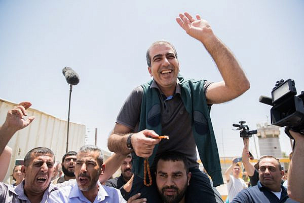 Mahmoud Katusa, seen after his release from Israeli prison, at the Beitunia crossing, near the West Bank city of Ramallah, June 25, 2019. (Yonatan Sindel/Flash90)