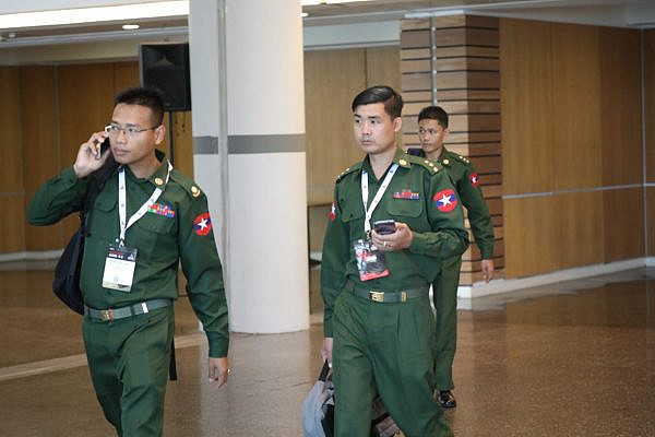 Myanmar military representatives at the ISDEF 2019 expo in Tel Aviv on June 4, 2019. (Oren Ziv)