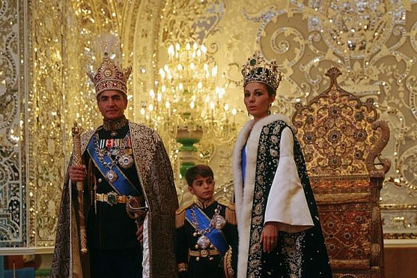 Shah Mohammad Reza with his consort and crown prince after the coronation, 1967.