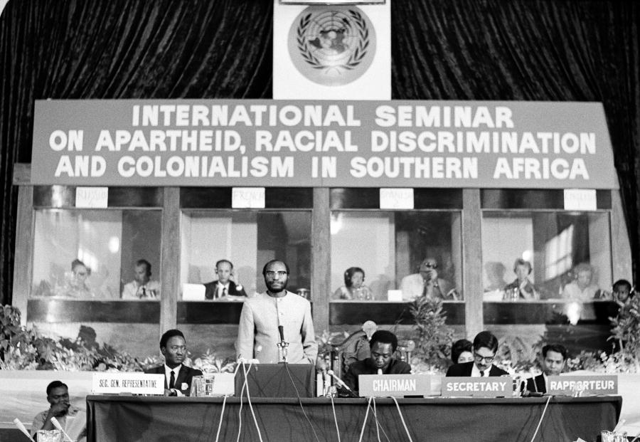 Simon KAPWEPWE (standing), Foreign Minister of Zambia, addressing the Seminar on Apartheid, Racial Discrimination and Colonialism. 4/Aug/1967 (UN Photo)