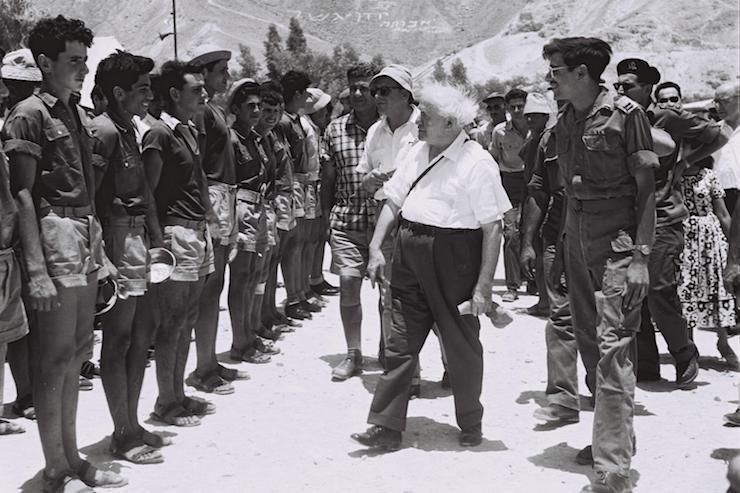 Prime Minister David Ben Gurion visits the agricultural settlement of Be'er Ora, north of Eilat, June 13, 1957. (Moshe Pridan/GPO)