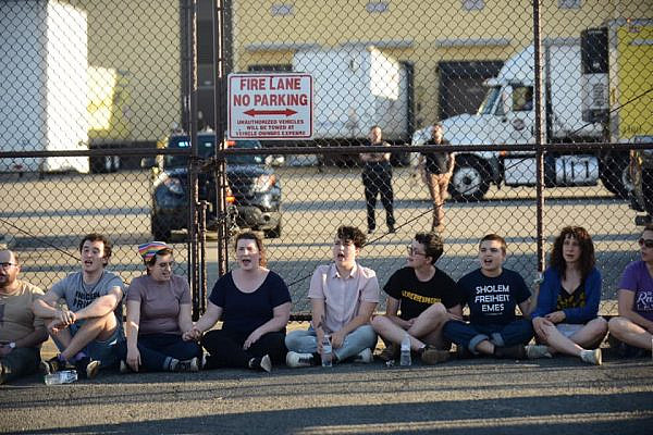 American Jews with Never Again Action demonstrate outside an ICE detention facility in Elizabeth, New Jersey, July 1, 2019. (Gili Getz)