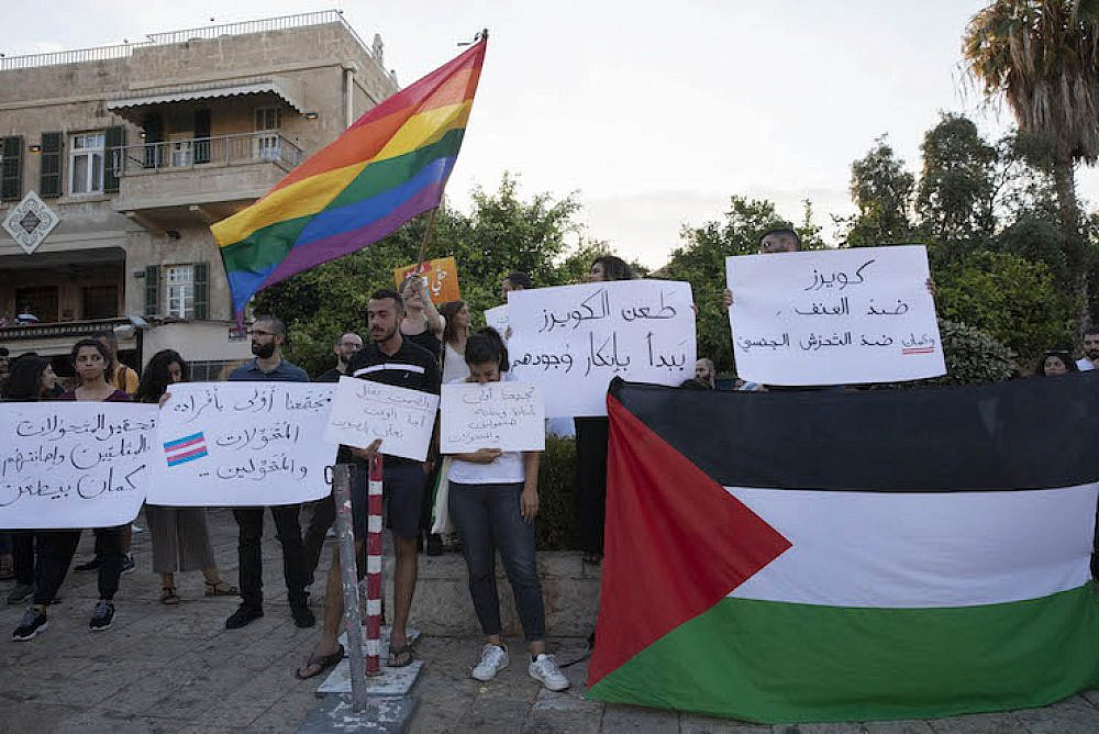 Hundreds of Palestinians protested against LGBT violence in Haifa following the stabbing of an Arab transgender teen in Tel Aviv last week. August 1, 2019. (Oren Ziv/Activestills.org)