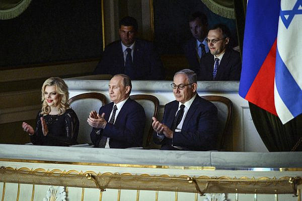 Prime Minister Benjamin Netanyahu with his wife Sara and Russian President Vladimir Putin at the Bolshoi Theatre in Moscow, Russia, June 7, 2016. (Haim Zach/GPO)