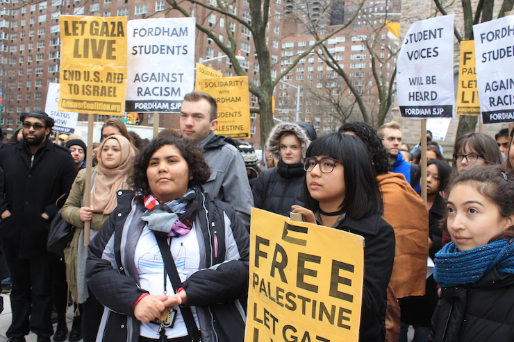 Members and supporters of Fordham Students for Justice in Palestine rally on the university's Manhattan campus against the Fordham administration's refusal to register SJP as a student organization, January 23, 2017. (Joe Catron)