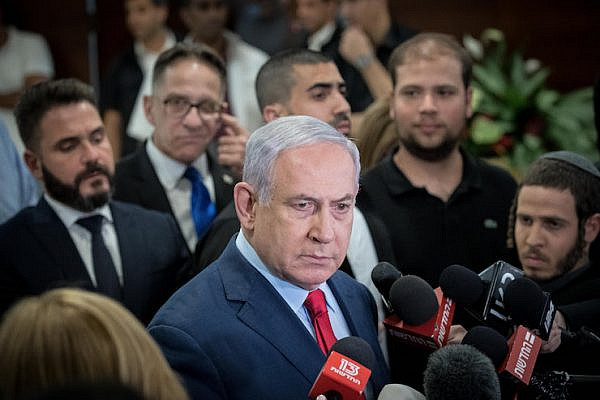 Israeli Prime Minister Benjamin Netanyahu speaks to the media at the Knesset, in Jerusalem on May 30, 2019. (Yonatan Sindel/Flash90)