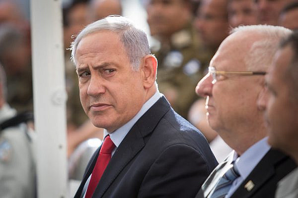 Prime Minister Benjamin Netanyahu during an event at the President's residence in Jerusalem on July 1, 2019. (Hadas Parush/Flash90)