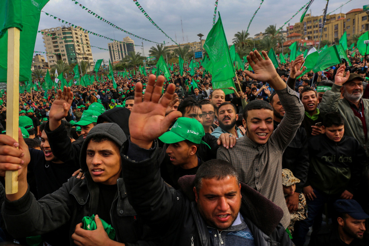 Thousands of Palestinians attend a rally celebrating the 31st anniversary of Hamas in Gaza City, December 16, 2018. (Abed Rahim Khatib/Flash90)