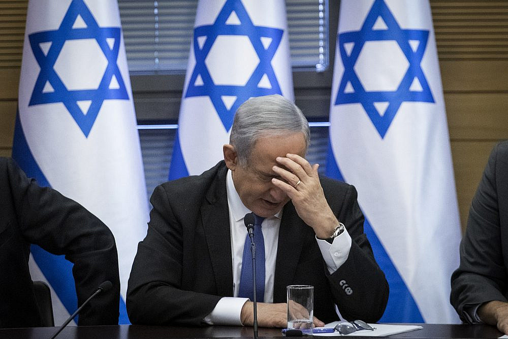 Prime Minister Benjamin Netanyahu seen during a meeting of the right-wing parties bloc at the Knesset, Jerusalem, November 20, 2019. (Hadas Parush/Flash90)