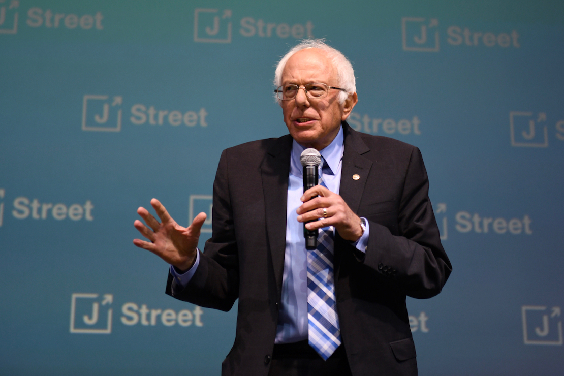 Sen. Bernie Sanders (D-VT) speaks at the 2019 J Street National Conference, October 28, 2019. (Gili Getz)