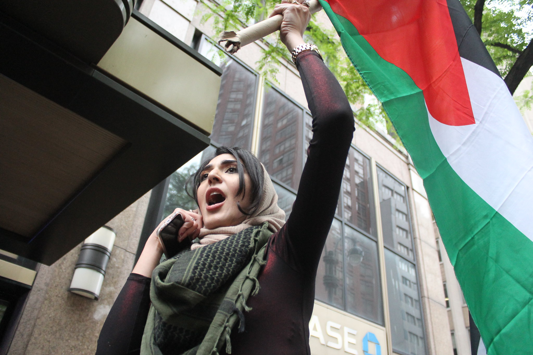 A protester takes part in a protest marking the 70th anniversary of the Nakba, New York, May 18, 2018. (Joe Catron/CC 2.0)