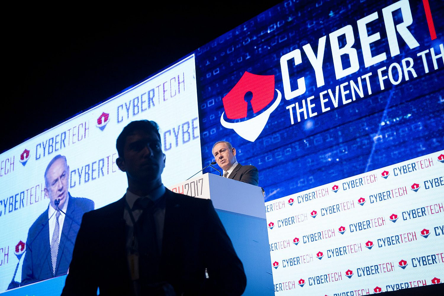 Israeli Prime Minister Benjamin Netanyahu at the Cybertech Israel Conference and Exhibition, in Tel Aviv. January 31, 2016. (Miriam Alster/FLASH90)