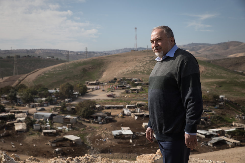 Former Defense Minister Avigdor Liberman visits the Palestinian village of Khan al-Ahmar, West Bank, January 1, 2019. (Hadas Parush/Flash90)