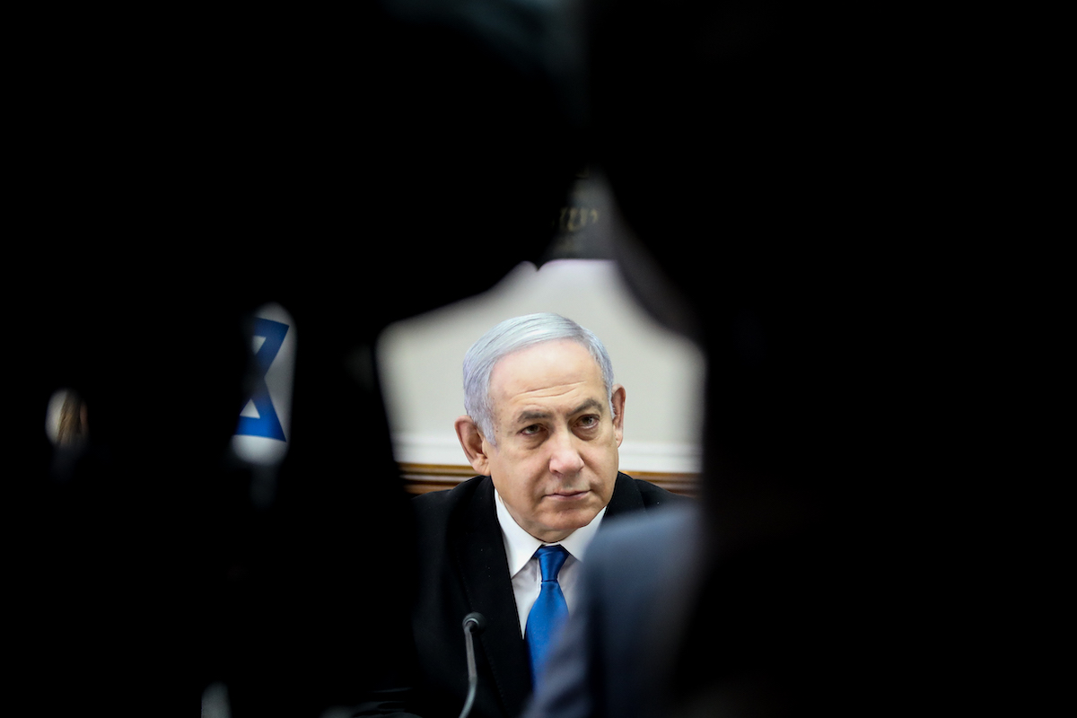 Israeli prime minister Benjamin Netanyahu leads the weekly cabinet meeting, at the Prime Minister's office in Jerusalem, on December 1, 2019. (Marc Israel Sellem/POOL)
