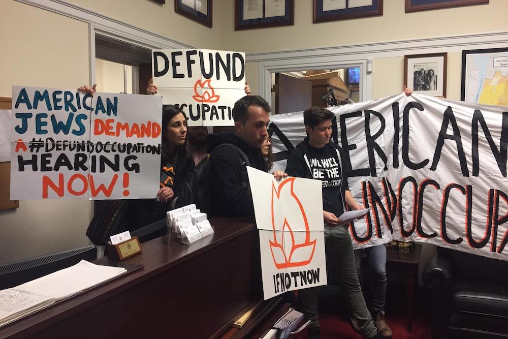 Activists with IfNotNow protest in Rep. Engel's office, Washington D.C., November 20, 2019. (Courtesy of IfNotNow)