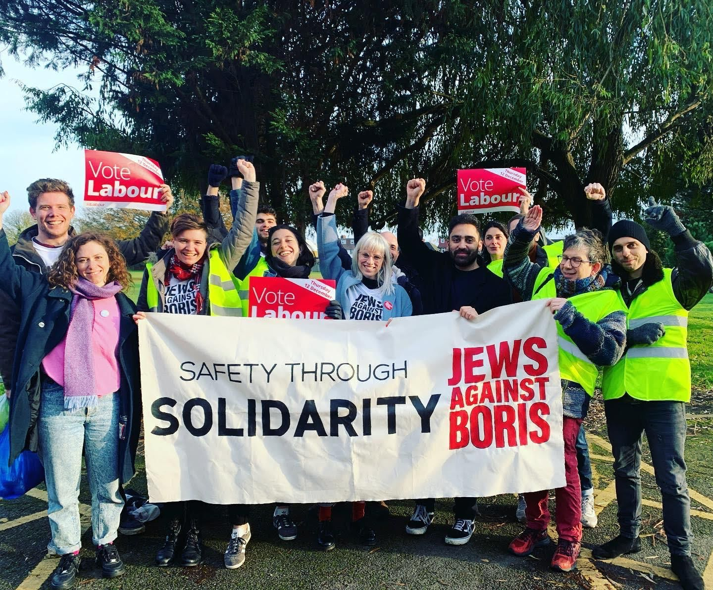 Members of Jews Against Boris, a grassroots campaign aiming to unseat incumbent U.K. Prime Minister Boris Johnson, in London, November 17, 2019. (Jews Against Boris)