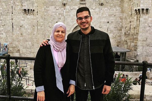 Laith Abu Zeyad and his mother, Zubayda Khatib, in Jerusalem on March 11, 2018.
